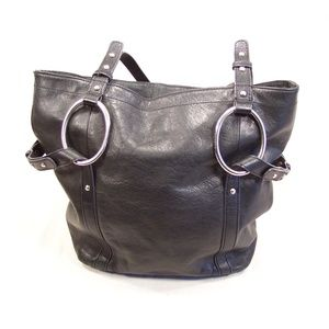 Large Hobo Festival Tote Black Leather